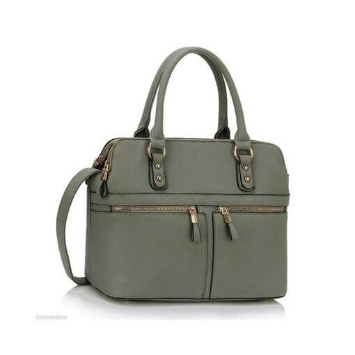 Zipper Tote Shoulder Bag Grey
