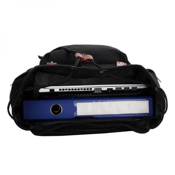 Black-Backpack-College-School-Bag-LS00443 —
