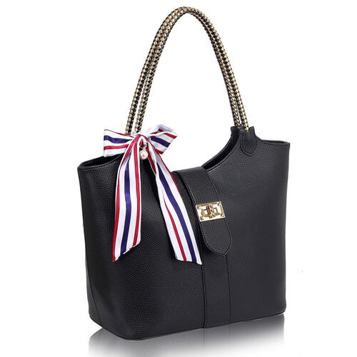 Black shoulder tote handbag LS00278