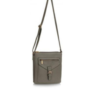 Grey Leather Cross Body Bag