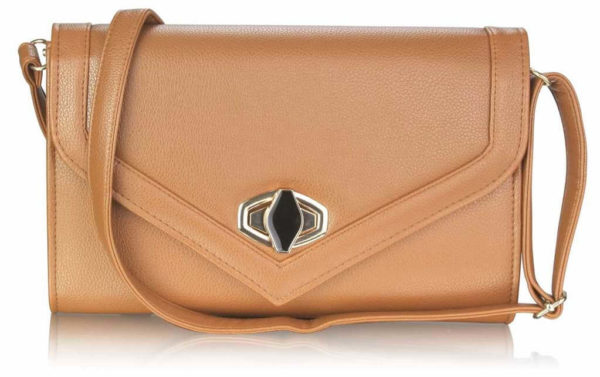 LSE00229 Twist Lock Clutch Purse Brown