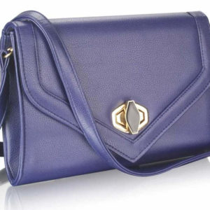 LSE00229 Twist Lock Clutch Purse Navy
