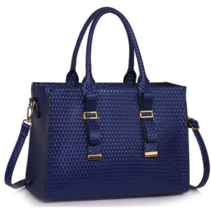 Navy leather buckle tote shoulder bags