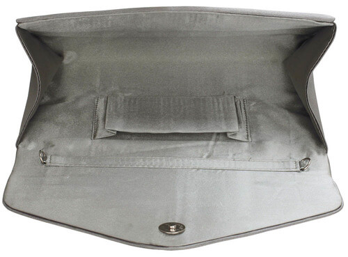 Grey Flap Over Clutch Bag