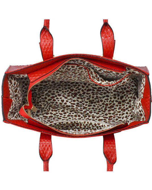 Red buckle tote shoulder bags