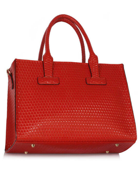 Red leather buckle tote shoulder bags