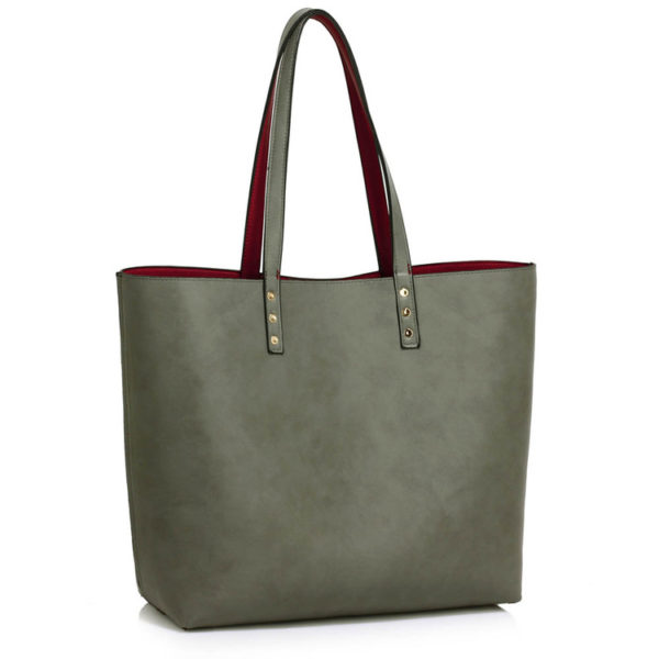 Reversible Shoulder Handbag Burdundy/Grey