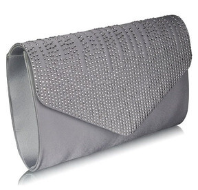 Silver Flap Over Clutch Bag