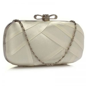 ivory satin clutch evening bag