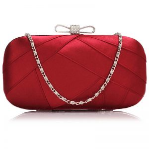 red satin clutch evening bag