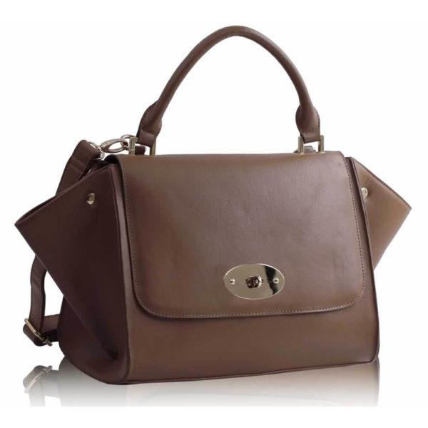 tan Flap Satchel Handbag LS0068A 1