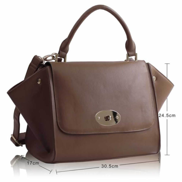 tan Flap Satchel Handbag LS0068A-3