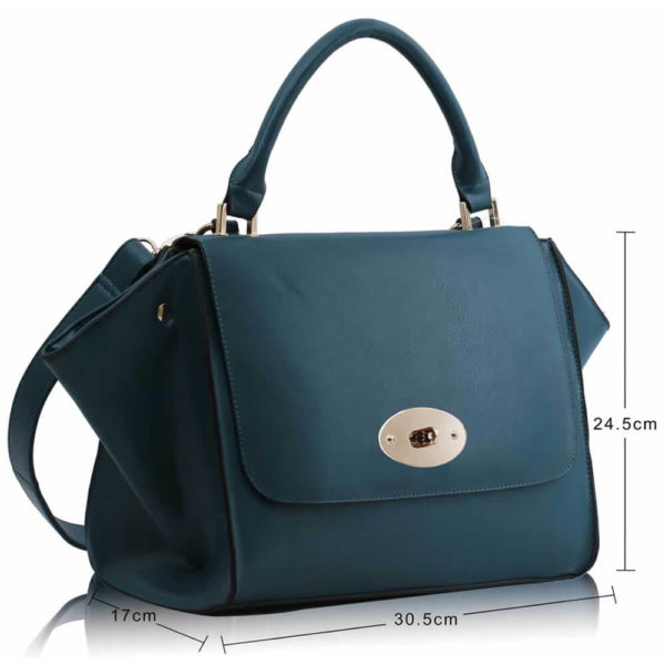 teal Flap Satchel Handbag LS0068A -3