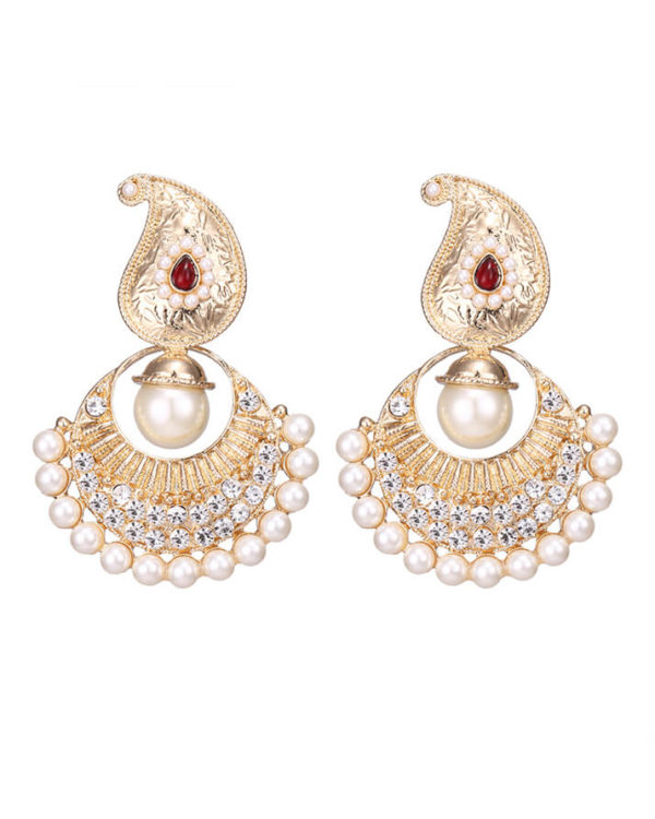 shop gold earrings indian and polki multicoloured stone valia