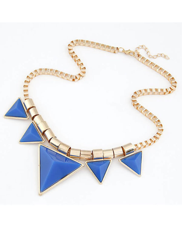 triangle blue necklaces for girls