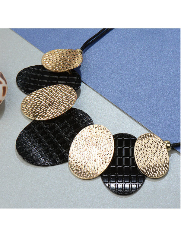 black and gold geometric necklace online shopping