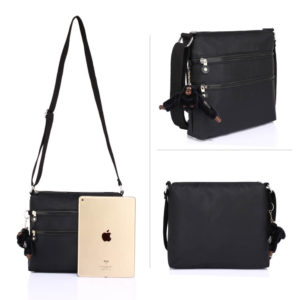 black branded crossbody bags