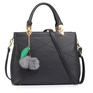 black faux-fur charm shoulder tote bags in pakistan