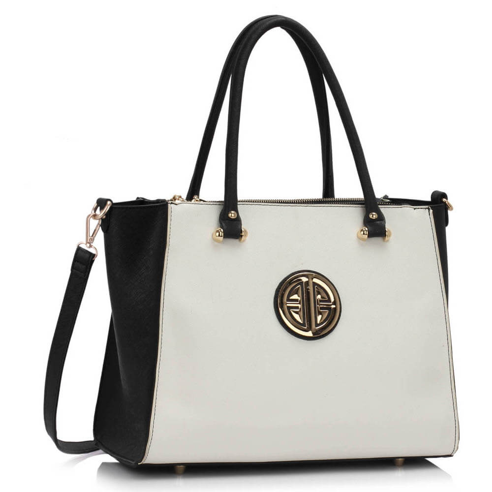 black and white three zipper grab leather tote bag in pakistan