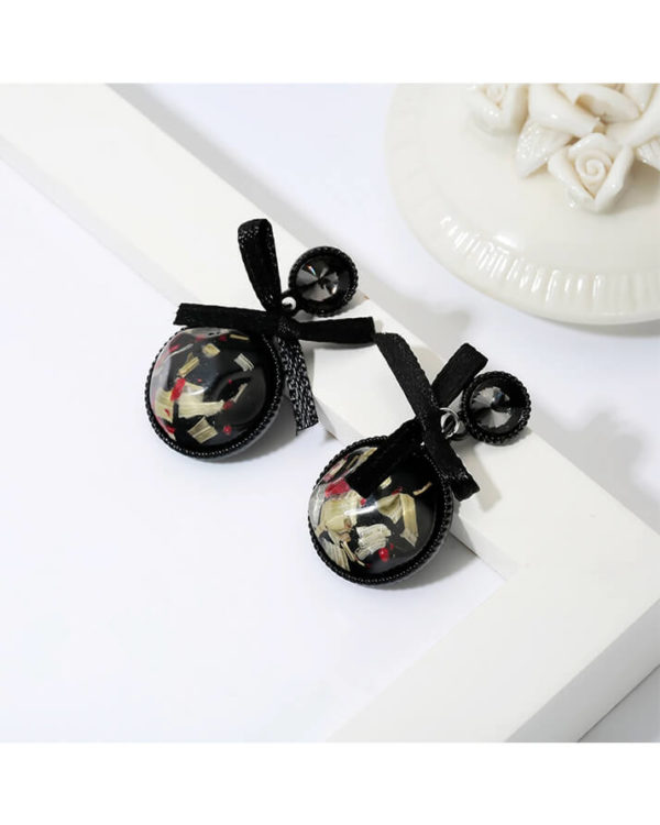 bowknot ribbon style fashion earrings – round shape