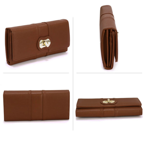 brown twist lock womens clutch wallets online shopping