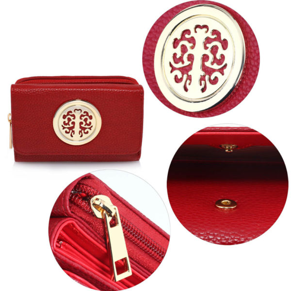 metal decoration burgundy women wallets online in pakistan