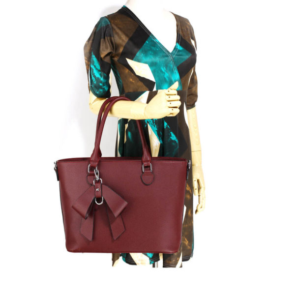 burgundy bow charm leather tote bag in pakistan