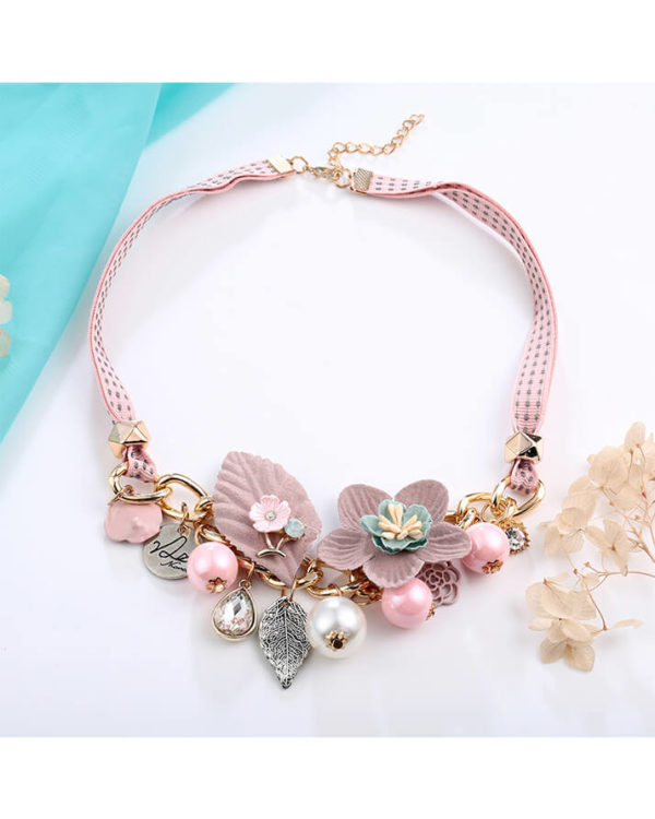 choker necklace – pink floral statement necklace