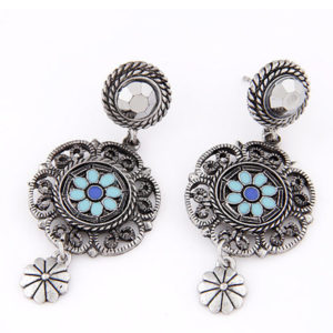 indian style earrings - blue ae08