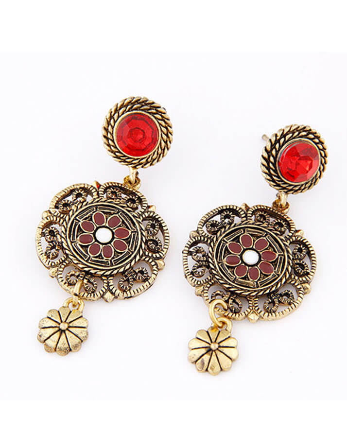 antique indian fashion red earrings - indian style earrings