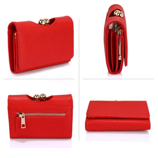 red kisslock clutch card holder wallets in pakistan