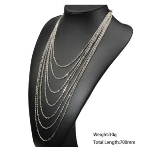 silver long multi chain necklace
