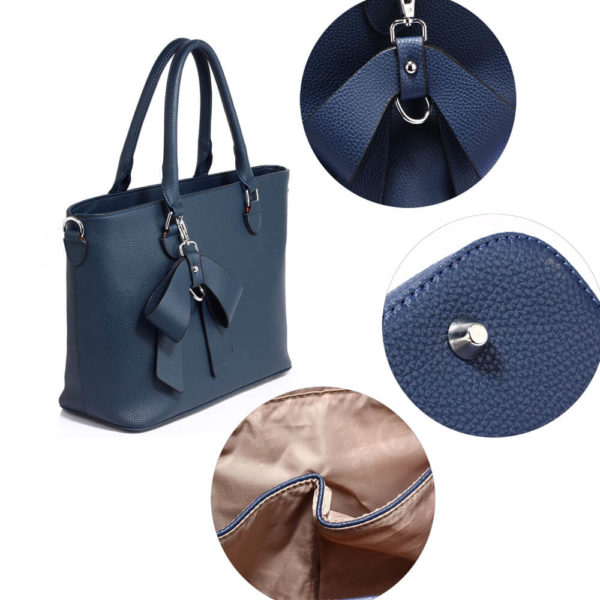 navy bow charm leather tote bag in pakistan