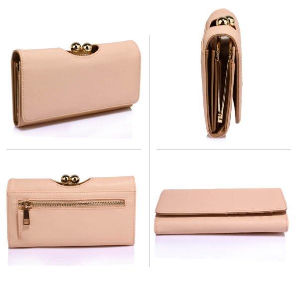 nude kisslock womens clutch wallets