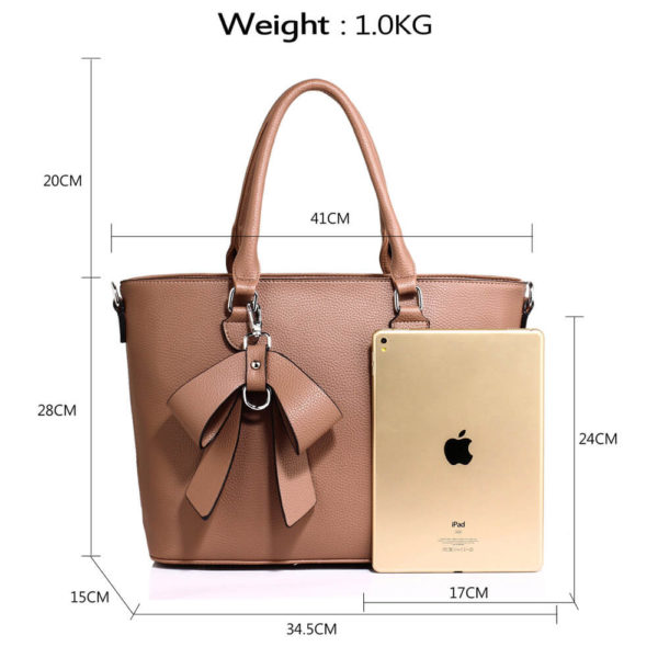 nude bow charm leather tote bag in pakistan