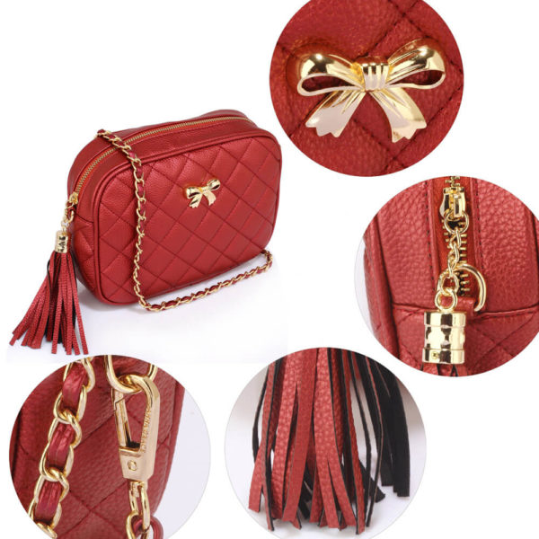 red ladies cross body bag