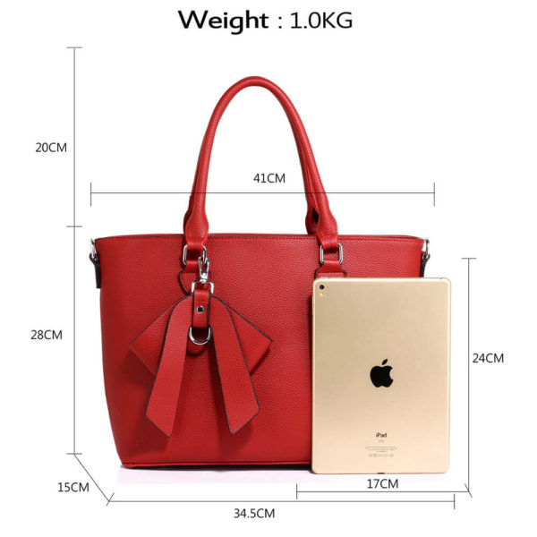 red bow charm leather tote bag in pakistan
