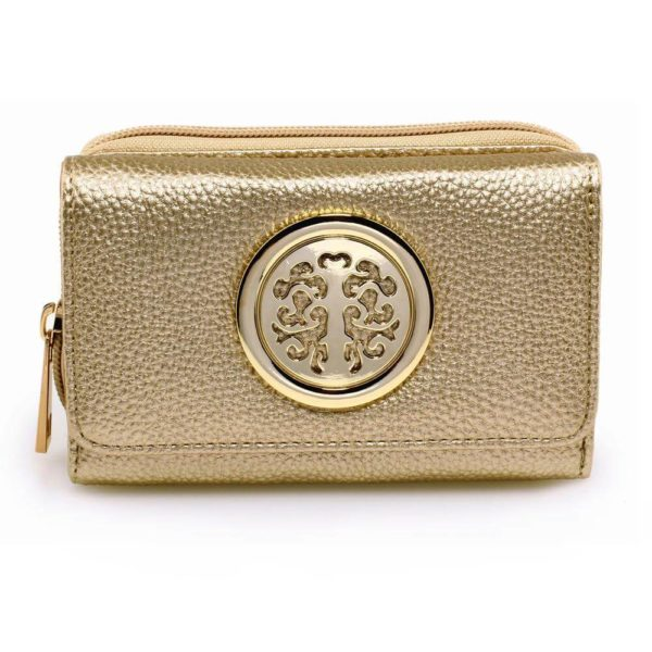agp1052a – gold purse wallet with metal decoration