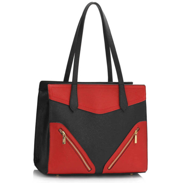 red black buckle detail leather shoulder bags for ladies