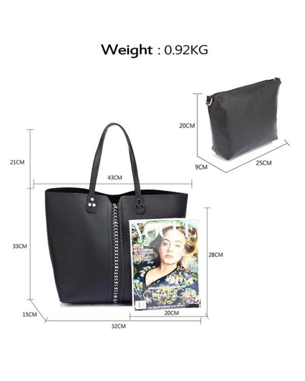 AG00548 – Shoulder Bag With Silver Metal Work And Removable Pouch1
