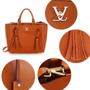women tassel shoulder handbag brown