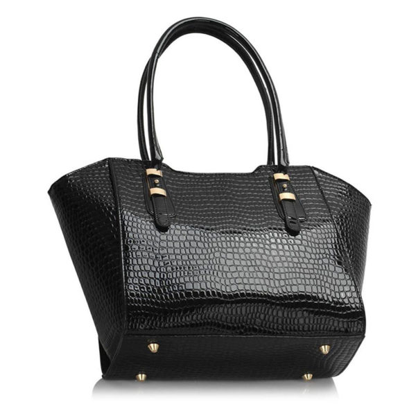 LS00474 – Croc Style Shoulder blackBag 1