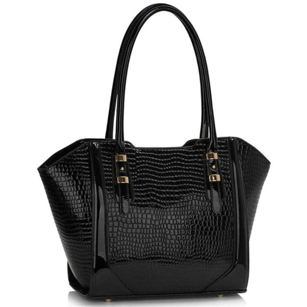 LS00474 – Croc Style Shoulder blackBag