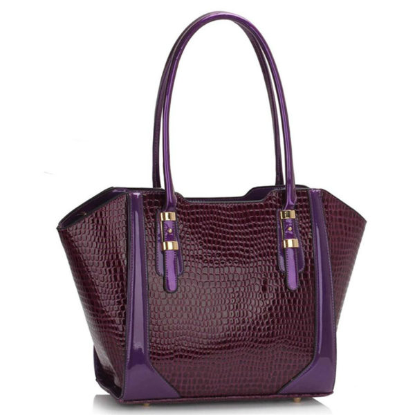 LS00474 – Croc Style Shoulder purpleBag