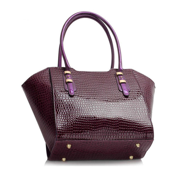 LS00474 – Croc Style Shoulder purpleBag1