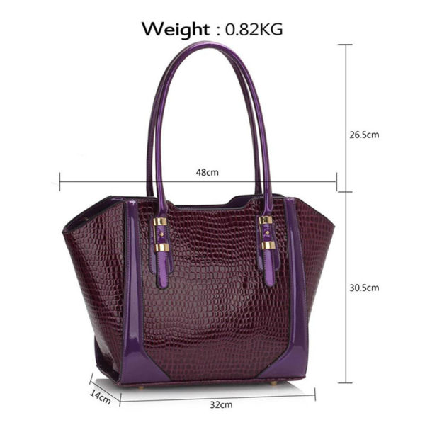 LS00474 – Croc Style Shoulder purpleBag3