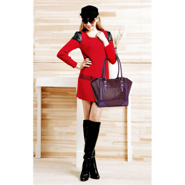 LS00474 – Croc Style Shoulder purpleBag4