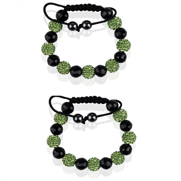 LSB0010- light-green-Shamballa Bracelet Crystal-Disco Ball Friendship Bead
