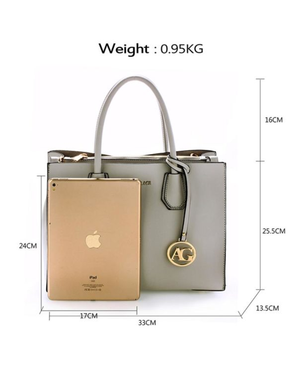 ag00559 – grab tote handbag with gold metal work Grey 1