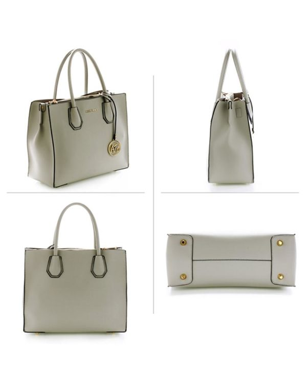ag00559 – grab tote handbag with gold metal work Grey 2